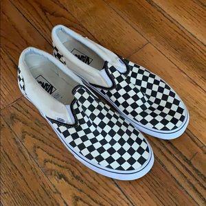 Men's Size 12 checkered Vans slip on